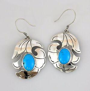 Turquoise Dangle Earrings Native American Navajo Kingman Turquoise Sterling Silver Dangle Post Teardrop Earrings Signed
