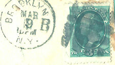 Brooklyn, NY PO Square GRID=Classic US Fancy Cancel on Piece+1880s Time-CDS