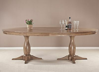 Lourdes solid oak french furniture 2.4m large oval dining table