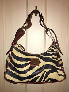 0de00f5f62 Image is loading Dooney-amp-Bourke-Zebra-Print-With-Red-Leather-