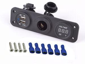 Details About Cigarette Lighter Socket Splitter 12v Dual Usb Charger Adapter Outlet Car
