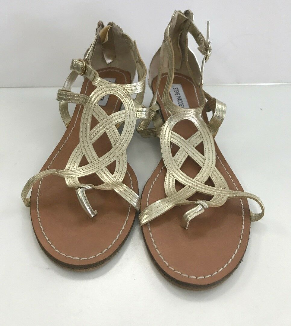STEVE MADDEN Sandals Wedge Zipper Backs Gold Man Made Sz Sz Made 10 B4082 e54d81