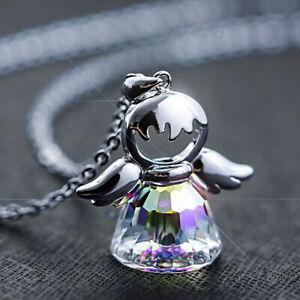 Halskette-Schutzengel-Anhaenger-925-Silber-mit-Kristallen-von-Liebe