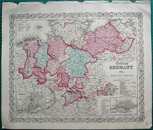 1855 LARGE ANTIQUE MAPCOLTON GERMANY 1 HANOVER HAMBURG BREMEN