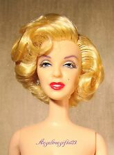 Nude Marilyn Monroe face sculpt blonde hair Barbie for ooak or play