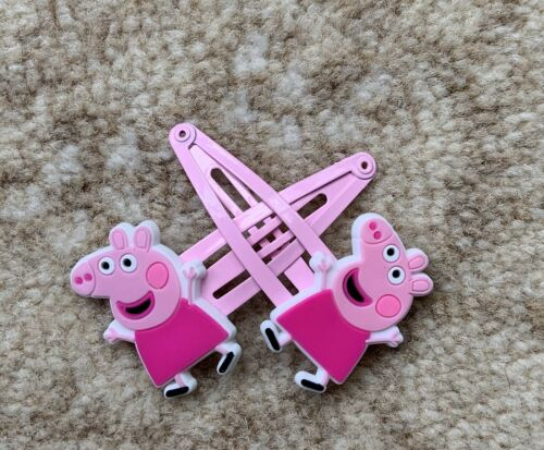 Happy Peppa with A Pink Dress x 2 New Ref 1009 Peppa Pig Girls Hair Clips