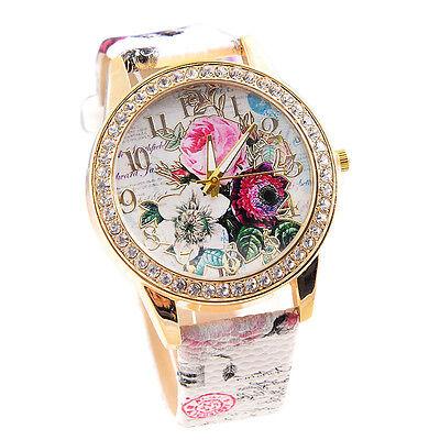 Fashion Womens Watch Printed Flower Leather Band Crystal Quartz Wristwatch Часы