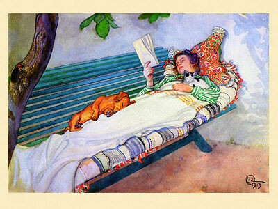 Lady Book Dachshund Dog Cat 16x22  Kitten Vintage Poster Repro FREE S/H in USA