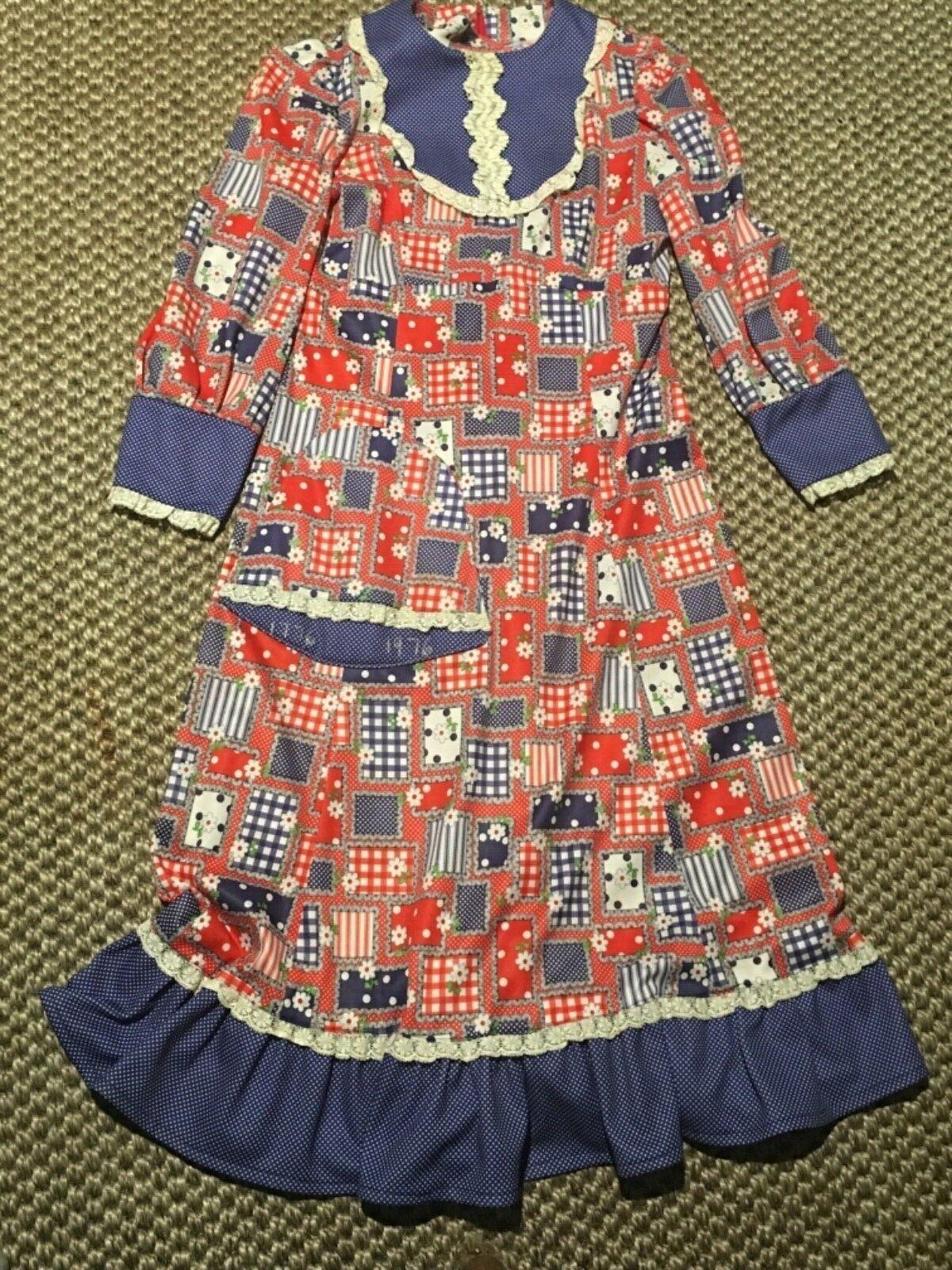Vtg Floral gingham Patchwork lace trim ruffle Boho Hippie Maxi maiden Dress mumu