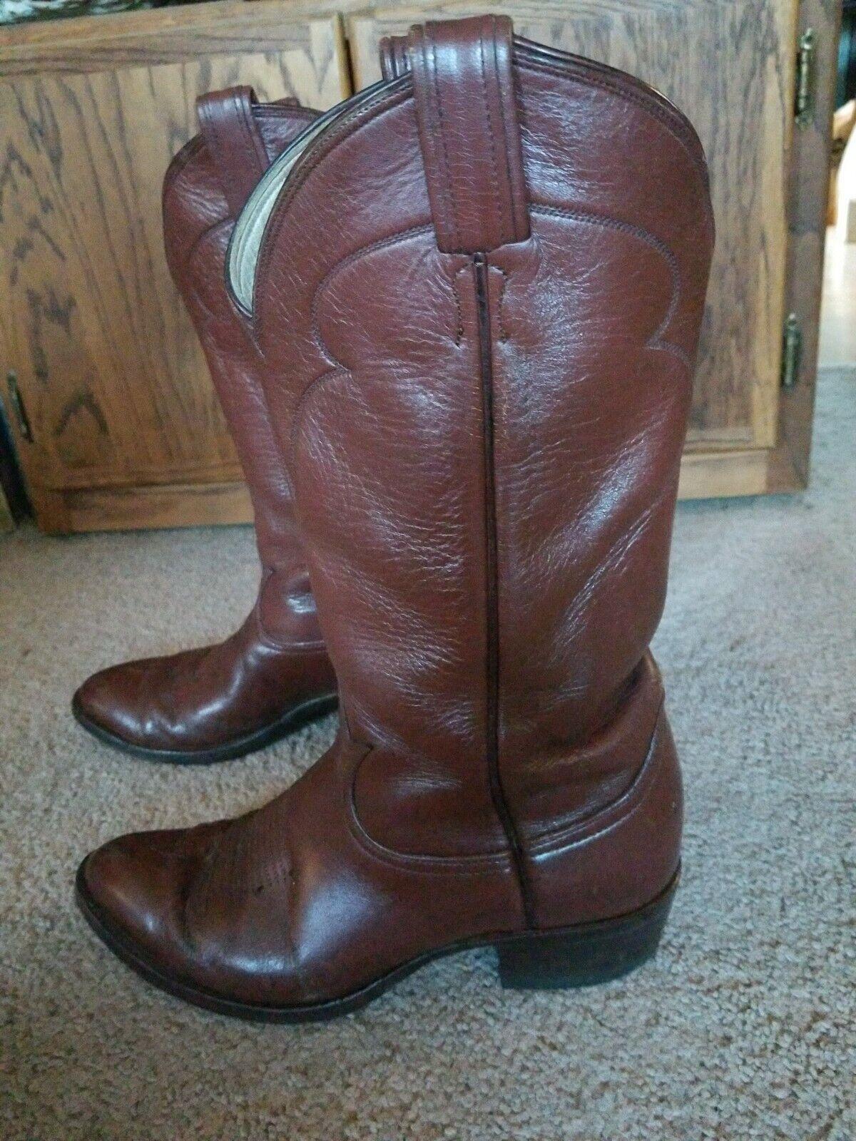 3de868d7ec0 Vintage Tony Lama 5084 Black Label Cognac Leather Cowboy BootsMens ...