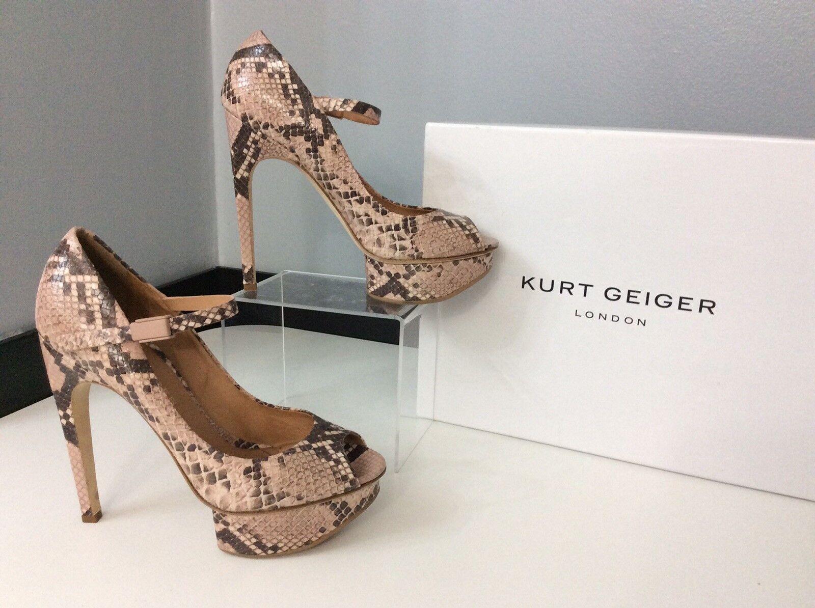 Kurt Geiger KG Taille 39 UK 6 cabalah Peep Toe chaussures en cuir très bon état