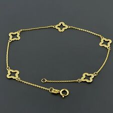"""14K YELLOW GOLD FLAT CABLE LINK 7.5"""" BRACELET W/ 5 CLOVER FLOWER STATIONS"""