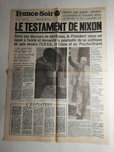 N366-La-Une-Du-Journal-France-soir-10-aout-1974-le-testament-De-Nixon