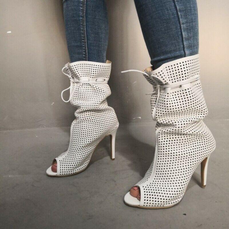 Mujeres Peep Toe Zapatos De Taco huecos botas Mitad de Pantorrilla Sandalias Gladiador 35-47