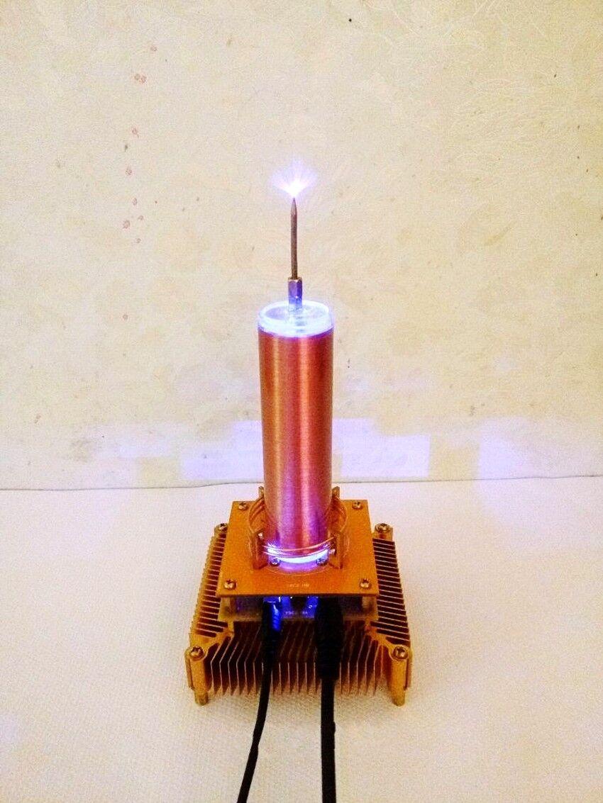 Mini Altavoz de plasma de bobina de Tesla Música Sonido de transmisión inalámbrica de oro sólido