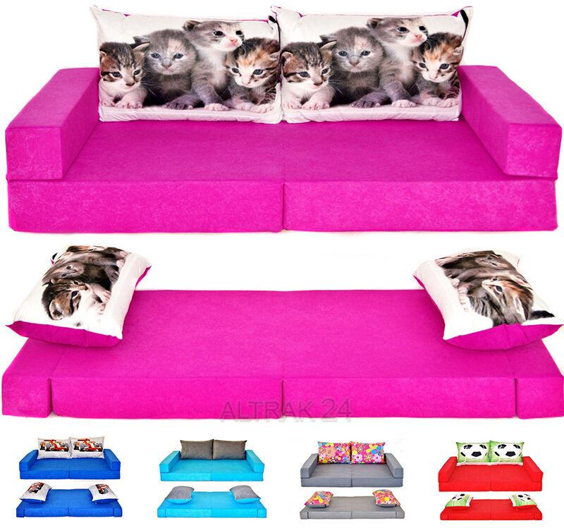 Matelas pour enfants petit canapé enfants mousse enfants sofa set + 2 oreillers 23 couleurs