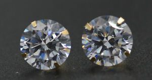14K-Solid-Yellow-Gold-4-00ct-Created-Diamond-8mm-Round-Martini-Stud-Earrings