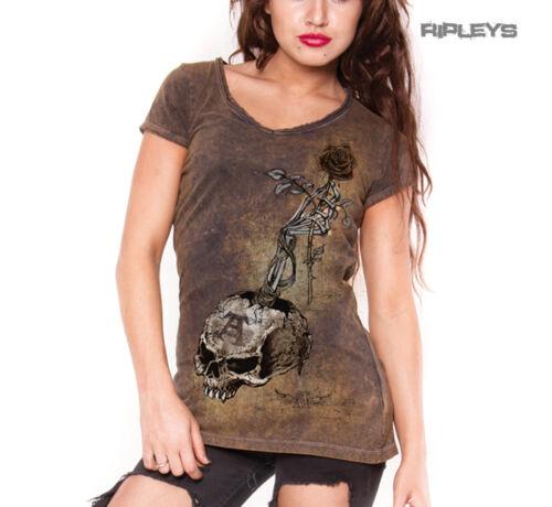 ALCHEMY Ladies Top Goth Grunge Vintage /'Risk It All/' Skull Rose Brown All Sizes