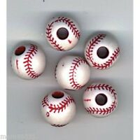 Beads Plastic Baseball Craft Bead 12mm Round Red & White Package Of 12