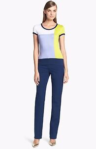 New-345-ST-JOHN-YELLOW-LABEL-Marie-Straight-Blue-Stretch-Cotton-Pants-10-x-28
