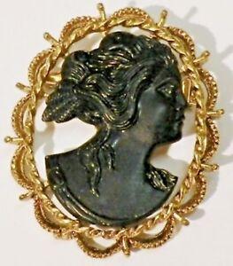 Broche Couleur Or Camée Buste Femme Noir Finement Détaillé Bijou Vintage 387 Saveur Pure Et Douce