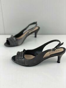 Diana-Ferrari-Womens-Supersoft-Grey-Slingback-Kitten-Heels-Open-Toe-Size-7C