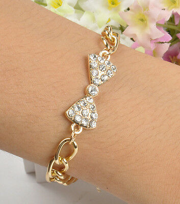 Vintage Gold charm Cute Bow Crystal Alloy Bling Chunky Chic Curb Chain Bracelet
