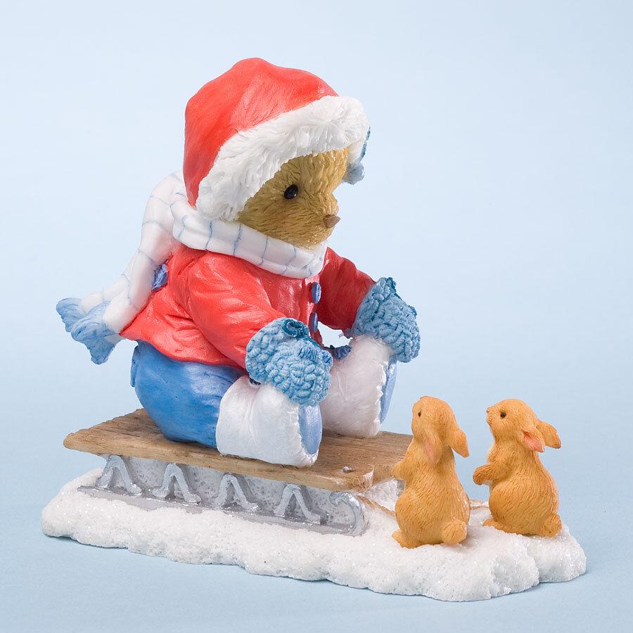 Cherished Teddies Daniela  Bear on Sled w  Bunny Rabbits 2012 Christmas Figurine