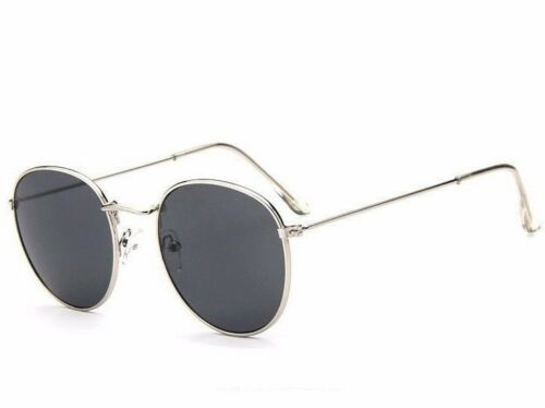 Trending Fashion Unisex Round Sunglasses Silver Metal Frame Gray Tinted Lens