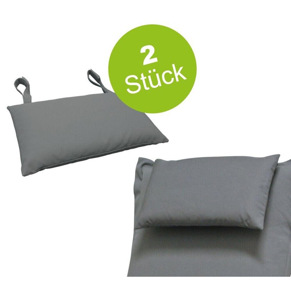 2 x Hochwertige Kopfkissen für Gartenmöbel grau Auflagen Kissen  Polsterauflage