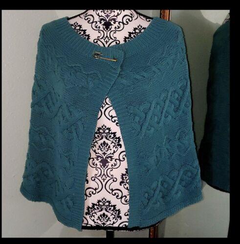 Ann Taylor Loft Vintage 80's Blue Knit Cape Shrug