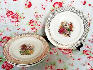 4-Assiettes-Dessert-Moulin-Des-Loups-Vaisselle-Ancienne-Couple-Fragonard-Rococo