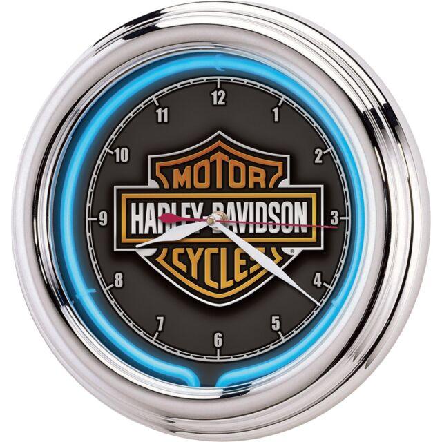 Harley Davidson Bar Shield Blue Neon Wall Clock Electric Chrome Frame Garage
