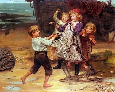 The Day's Catch by ARTHUR JOHN ELSLEY Giclee Fine Art Canvas Print