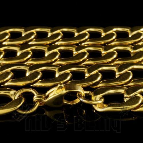Oro 18k Cubano Miami Cadena pesada sólida de Acero Inoxidable frenar Link Para Hombre Collar