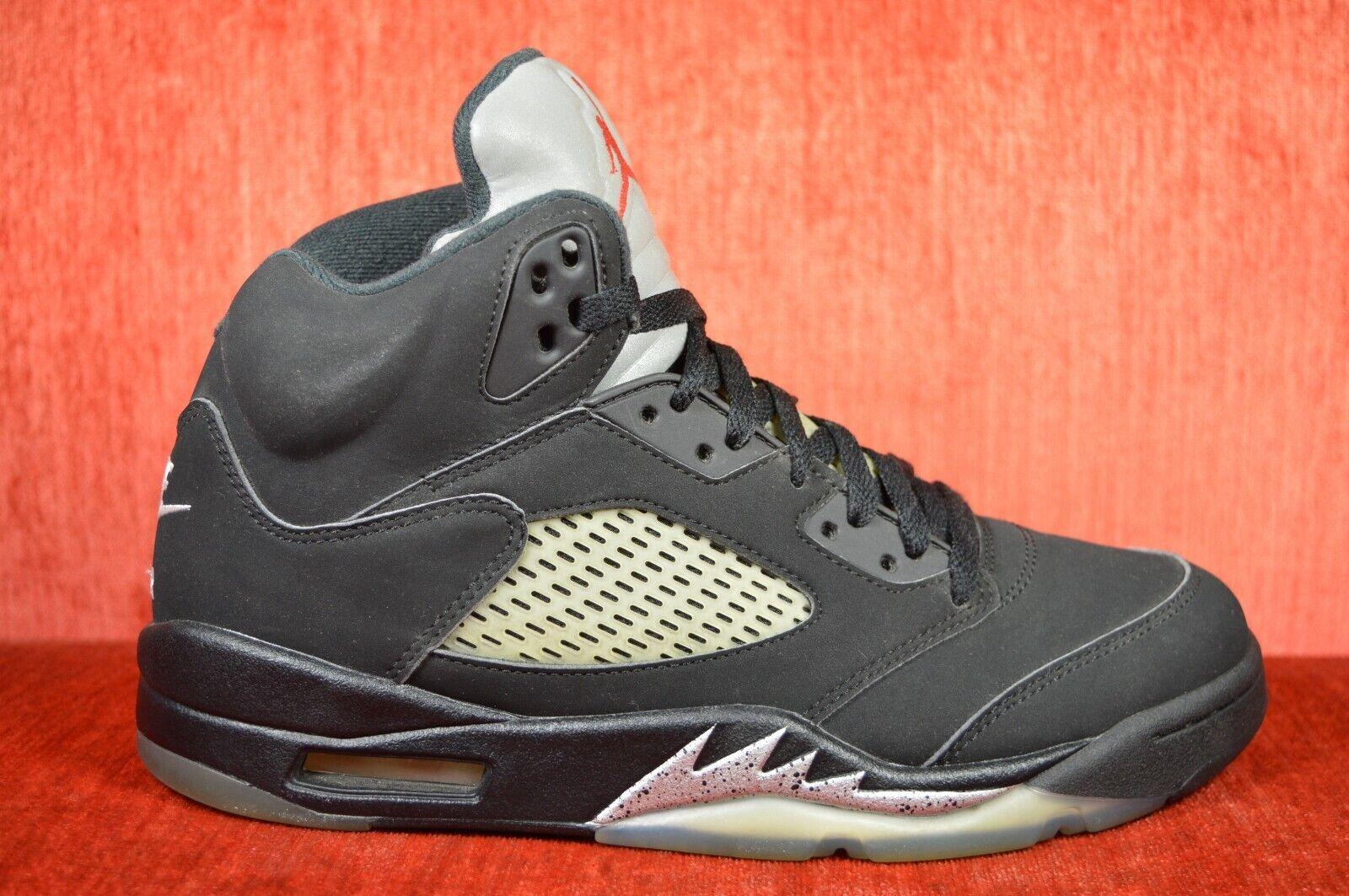 CLEAN Nike Air Jordan 5 Black Metallic OG Size 8.5 Silver 2016 845035-003