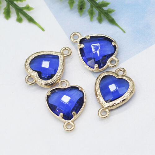 10mm Heart Faceted Framed Glass pendant Earrings Findings Connectors Metal Beads