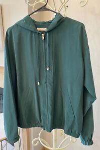 Equipment-femme-Green-Silk-Hooded-Jacket-Size-S-Zip-Front-EUC-395