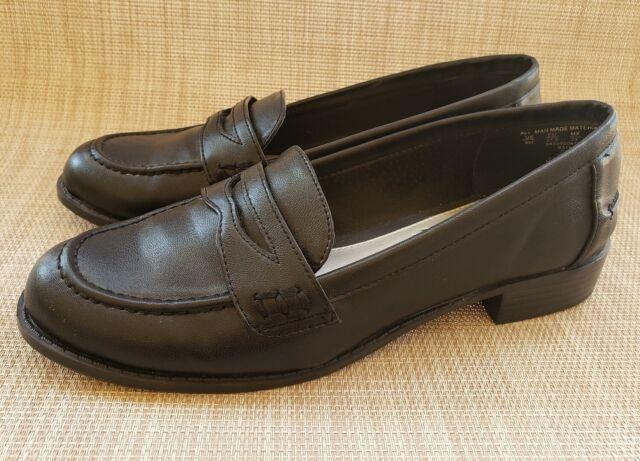 Womens LAURA SCOTT Black Low Heel Penny Loafers Size 6M | eBay