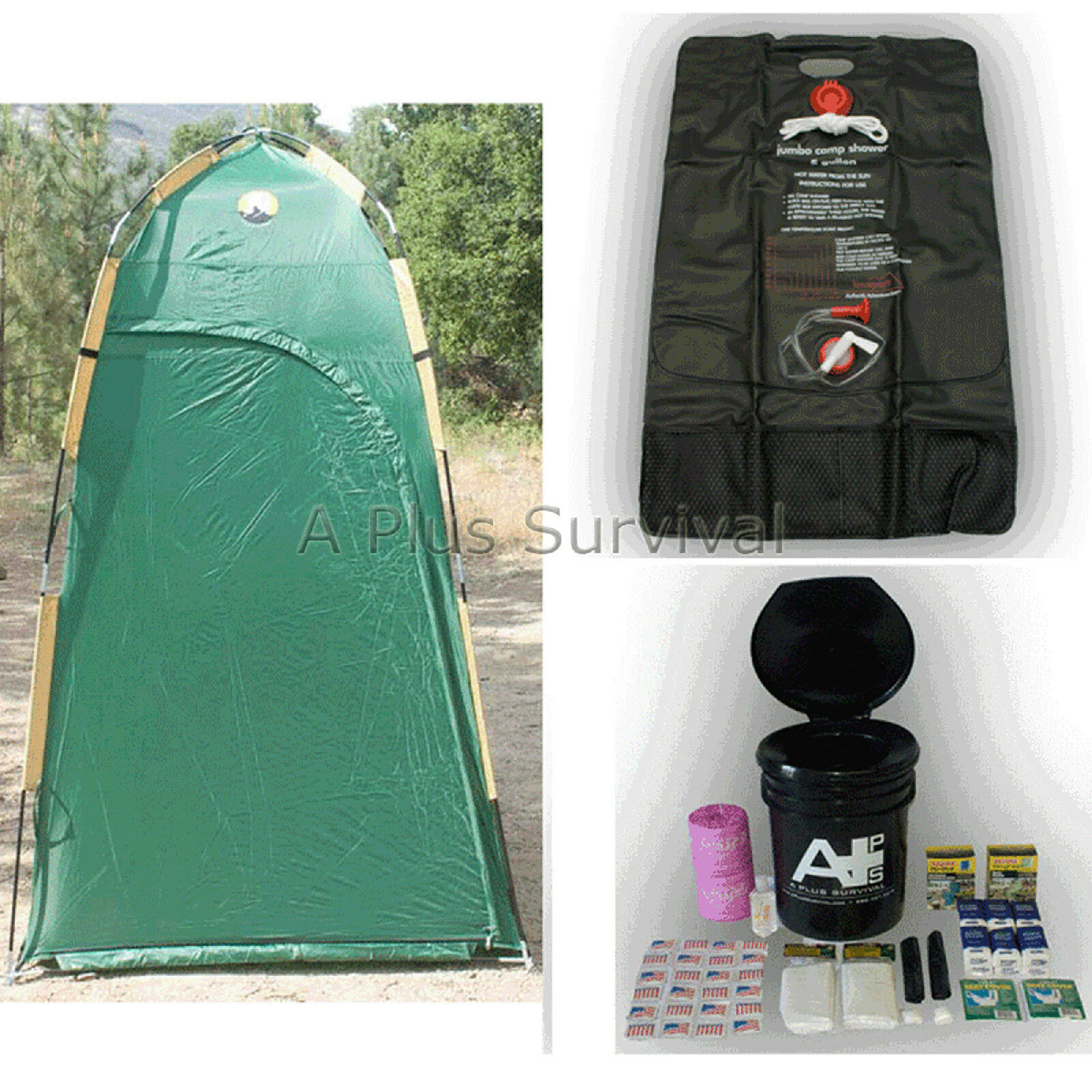 Deluxe Shelter, Solar Shower & Portable Toilet Kit
