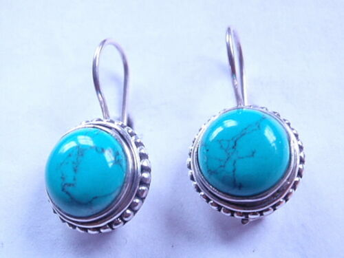 Turquoise Round 925 Sterling Silver Wire DOS Boucles d/'oreilles Corona Sun Jewelry