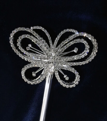 "Crystal Rhinestones Large Butterfly Scepter w//Two Side.Scepter SL.17-6//8/""Tall."