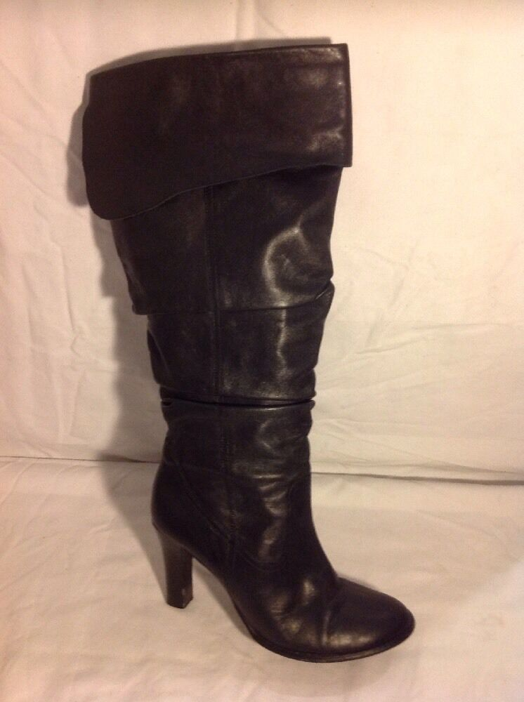 Redherring Black Knee High Leather Boots Size 4