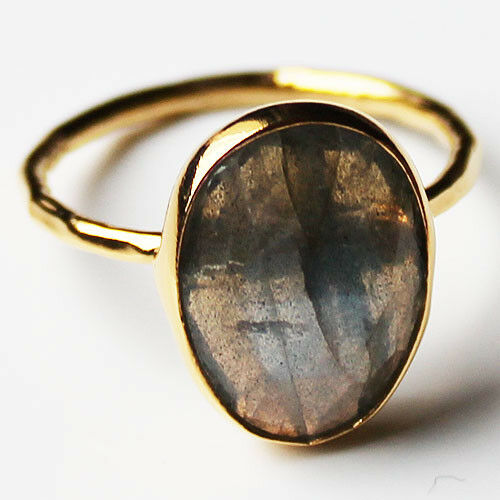 Faceted Semi-Precious Natural Stone Gold Statement Ring - Labradorite Size 7