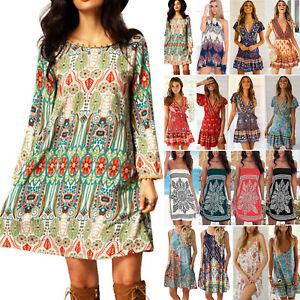 Details zu Damen Boho Hippie Blumen Minikleid Strand Sommerkleider Kaftan Freizeit Kleid 42