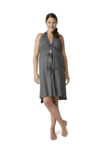 Delivery Pretty Pushers Original Labor Birthing Gown-CHARCOAL HEATHERED GREY