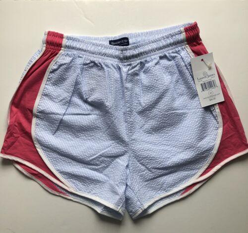 Lauren James Striped Seersucker Shorts Pink Light Blue Sz M Medium NWT $45