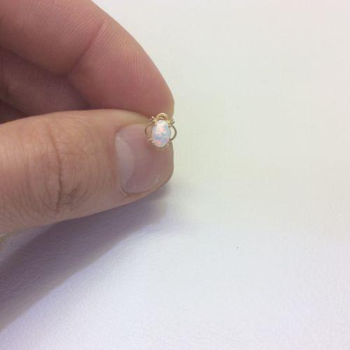 WomenChildren/'s Stylish 14K Solid Yellow real Gold Opal Stud Screw Back Cz Earring