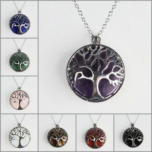 Natural-Gemstones-Amethyst-Tree-of-Life-Reiki-Chakra-Silver-Pendant-Necklace