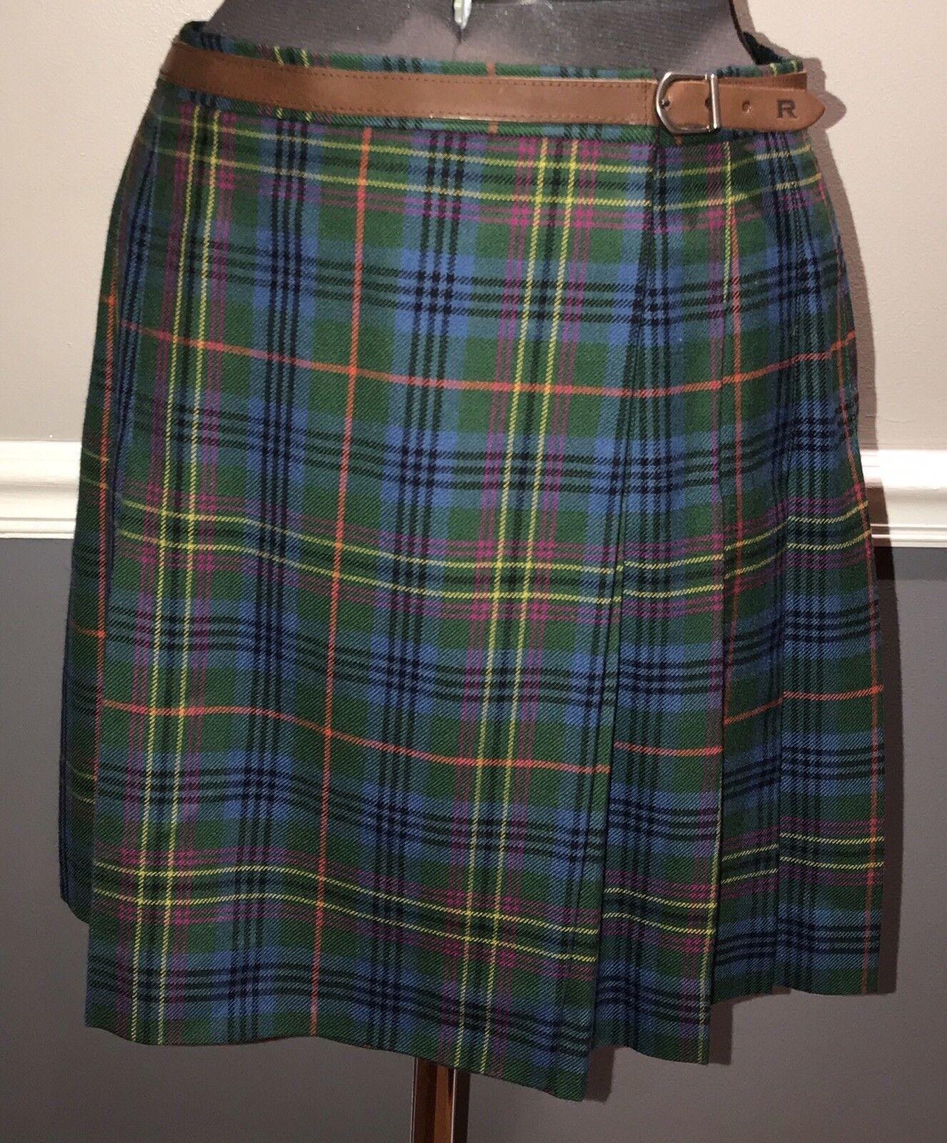 RALPH pleated skirt bluee plaid Ralph Lauren 10